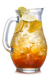 Iced tea in the pitcher. A jug of cold tea. Low key image Royalty Free Stock Photos