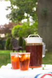 Iced Tea. Pitcher of iced tea and two glasses in outdoor backyard summer setting royalty free stock photo