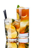 Iced tea. In a transparent glasses. Focus on foreground Stock Images