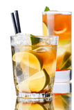 Iced tea. In a transparent glasses. Focus on foreground Royalty Free Stock Images