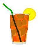 Iced Tea Vector. Iced Tea and Lemon and Straw, Vector Royalty Free Stock Photos