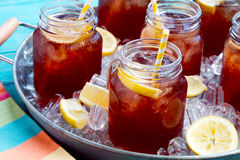 Iced Teas in Ice Filled Tray Stock Photos
