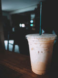 This is iced Thai tea on wooden table, soft tone Royalty Free Stock Photos