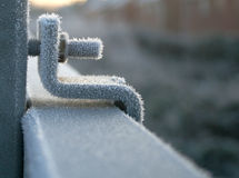 Iced up nut and bolt on frozen railing Royalty Free Stock Image