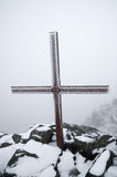 Iced Up Summit Cross Royalty Free Stock Photography