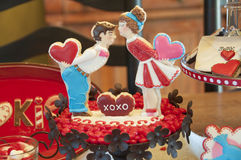 Iced valentine's day cookie Stock Photos