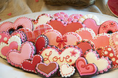 Iced valentine's day cookie Royalty Free Stock Photo
