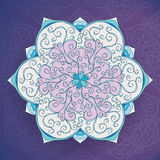 Iced Vintage Floral mandala vector card. Cold tone Royalty Free Stock Image