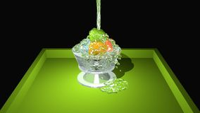 Iced water. Colored spheres in the glass, which are poured over with clear liquid. 3d illustration royalty free illustration