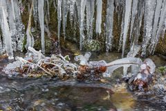 Iced water dripping in small river stream stock photo