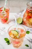 Iced watermelon and lime green tea Royalty Free Stock Photography