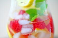 Iced white wine with fresh fruit Royalty Free Stock Photo