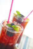 Iced wine drinks with fruit and mint Royalty Free Stock Photo