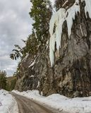 Icefall along the dirt road Stock Image