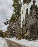 Icefall ao longo da estrada de terra Imagem de Stock