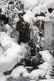 Icefall im Wald Stockfotos