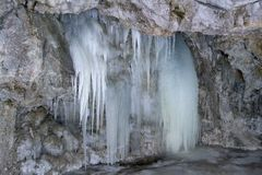 Icefall In Piecky In Slovak Paradise National Park, Slovakia Stock Image