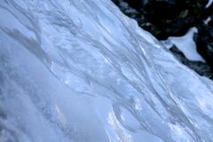 Ice on the icefall. Between the icefall and the rock. Veverov ladopad, slovakia, hight tatras, february stock photography