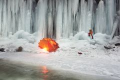 Icefall in the Ukrainian Carpathians Stock Images