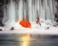 Icefall in the Ukrainian Carpathians Stock Photos