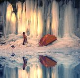Icefall in the Ukrainian Carpathians Royalty Free Stock Photography