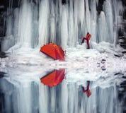 Icefall in the Ukrainian Carpathians Royalty Free Stock Photos