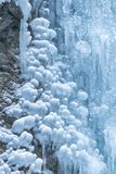 Icefall in a winter. Detail of icefall in a winter landscape stock photo