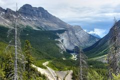Icefield parkway near lake luise. Icefield parkway in the canadian rockies royalty free stock image