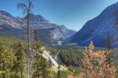 Icefields huvudväg till och med Rocky Mountains Arkivbild
