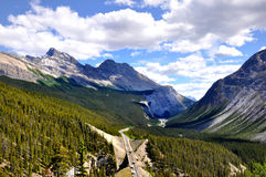Icefields Parkway aerial view. Panoramic view of Icefields Parkway between Canadian Rocky Mountains Royalty Free Stock Images