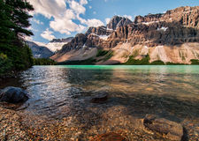 Icefields Parkway Bow Lake With Mountains Stock Image