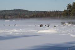 icefishing在一个湖的人们在瑞典 免版税库存照片