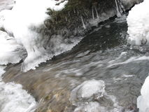Iceflow. Ice and water flowing down Stock Photos