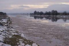 Iceflow, River Nith, Dumfries, Scotland stock photo