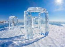 Icehange - stonehenge fatto da ghiaccio Fotografia Stock Libera da Diritti