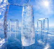 Icehange - stonehenge made from ice. On lake Baikal in Sineria under winter Sun royalty free stock images