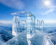 Icehange - stonehenge made from ice. On lake Baikal in Sineria under winter Sun royalty free stock image