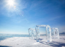 Icehange - stonehenge made from ice. On lake Baikal in Sineria under winter Sun stock image