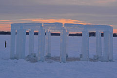 Icehenge. A Stonehenge replica made of ice blocks at sunset on a frozen lake in Wisconsin Stock Photography