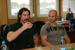 Icehockey players Ryan Hollweg and Michal Dvorak Stock Image
