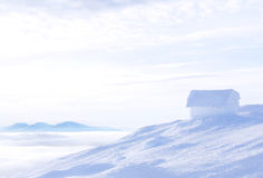 Icehouse above the Clouds. A small houseabove the clouds all covered in ice Royalty Free Stock Photography