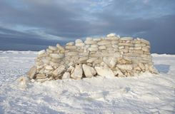 Icehouse, winter, wall of ice bricks, beach Stock Photos