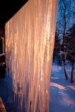 Iceicles snö och skog på solnedgången Royaltyfri Fotografi