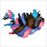 iceland översikt Färgglad vattenfärgIsland översikt stock illustrationer