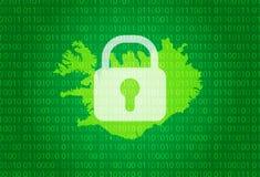 iceland översikt illustration med bakgrund för lås och för binär kod internet som blockerar, virusattack, avskildhet skyddar stock illustrationer