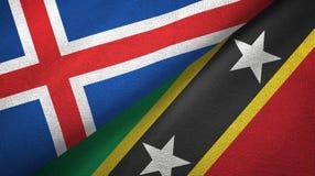 Iceland, święty i dwa flagi tekstylny płótno, tkaniny tekstura royalty ilustracja