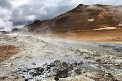 Iceland. Namafjall, Hverir area in Iceland. Geothermal activity - boiling mud and sulphuric formations Royalty Free Stock Images