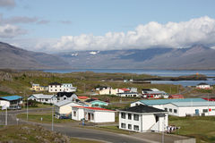 Iceland. Djupivogur - small fishing town in Iceland. Mountains and fjord Stock Images