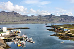 Iceland. Djupivogur - small fishing town in Iceland. Mountains, harbor and fiord Stock Image