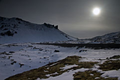 Iceland. Snow,sun and some moss stock images
